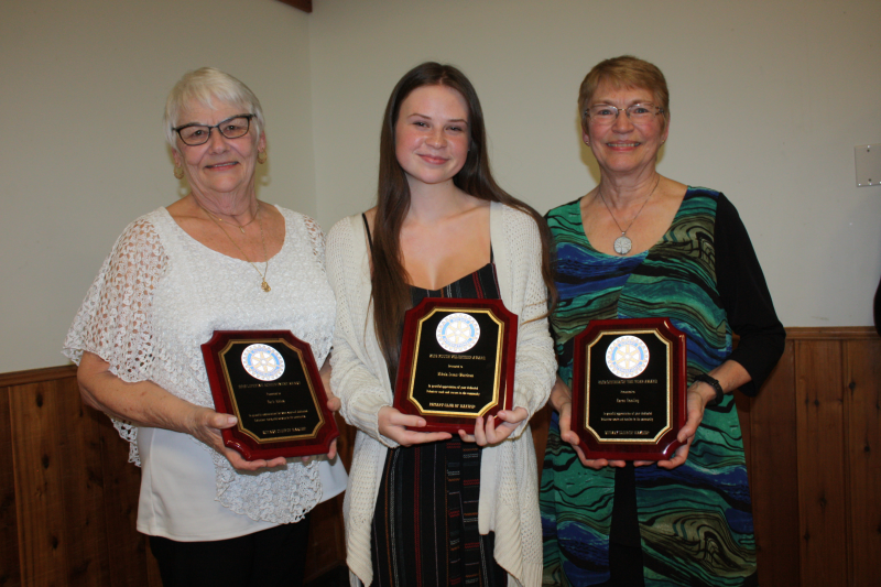 2019 Citizen of the Year Award: Karen Hamling, Lifetime Achievement Award: Barb Abbey (on behalf of the Arrow Lakes Health Auxiliary) and Youth Achievement Award: Mikala Lewis-Morrison